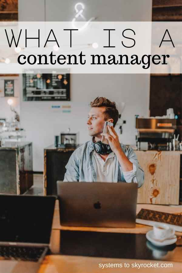 a man in a coffee shop working with headphones on with text overlay reading what is a content manager