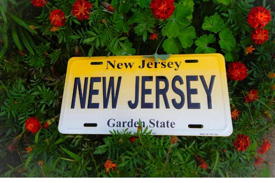 a NJ license plate reading New Jersey in a bed of flowers.